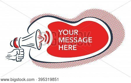 Loudspeaker In Hand-drawn Style And Red Copy Space In Abstract Frame - Isolated Illustration For Ano