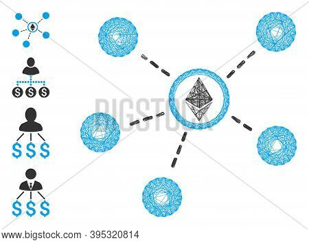 Vector Network Ethereum Network Links. Geometric Wire Frame Flat Network Generated With Ethereum Net
