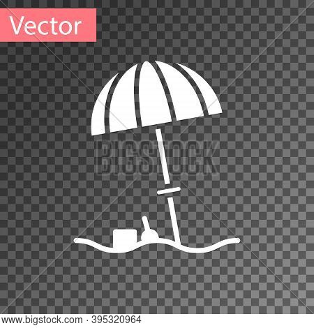 White Sun Protective Umbrella For Beach Icon Isolated On Transparent Background. Large Parasol For O