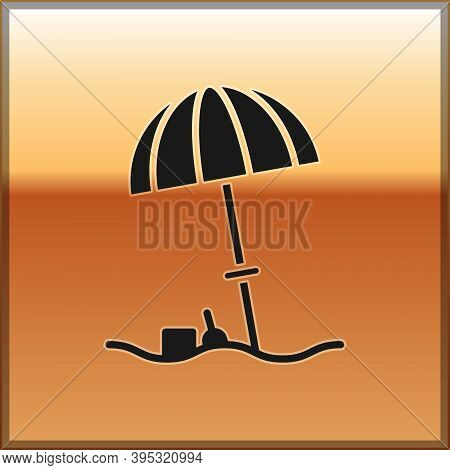 Black Sun Protective Umbrella For Beach Icon Isolated On Gold Background. Large Parasol For Outdoor