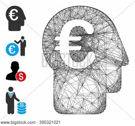 Vector Wire Frame Euro Banker. Geometric Wire Carcass 2d Network Made From Euro Banker Icon, Designe