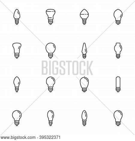 Light Bulb Line Icons Set, Outline Vector Symbol Collection, Linear Style Pictogram Pack. Signs, Log