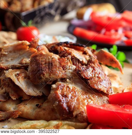 Gyros Grilled Meat Slices On A Pita Bread, Closeup View