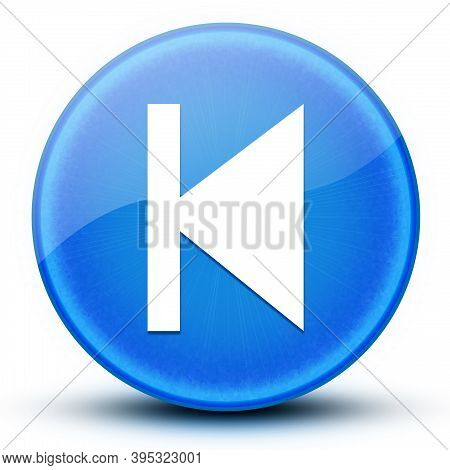 Previous Track Eyeball Glossy Blue Round Button Abstract Illustration