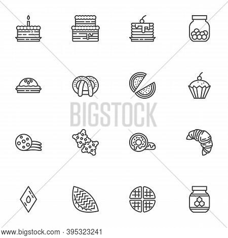 Cakes Line Icons Set, Sweets And Dessert Outline Vector Symbol Collection, Linear Style Pictogram Pa