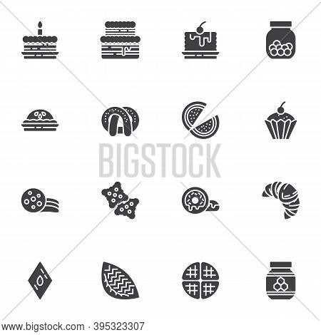 Cakes Vector Icons Set, Sweets And Dessert Modern Solid Symbol Collection, Filled Style Pictogram Pa