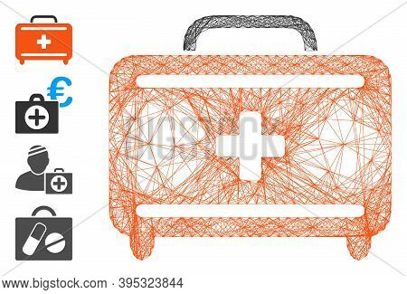 Vector Wire Frame First Aid Toolkit. Geometric Hatched Frame 2d Network Made From First Aid Toolkit