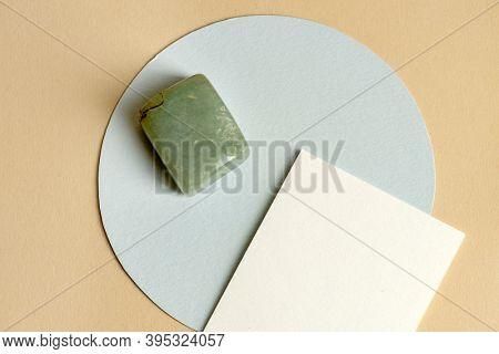 Jade stone on a blank card