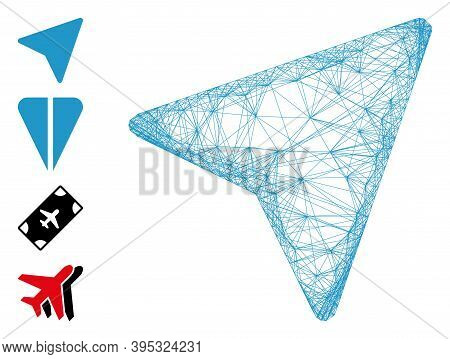 Vector Wire Frame Freelance Paper Plane. Geometric Wire Frame 2d Net Generated With Freelance Paper