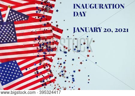 Creative Composition With Usa Flags On Bluel Background, Copyspace For Text. Inauguration Day 2021 C