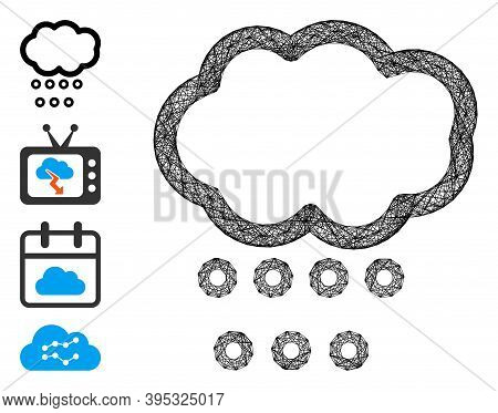 Vector Network Hail Weather. Geometric Wire Frame 2d Network Made From Hail Weather Icon, Designed F