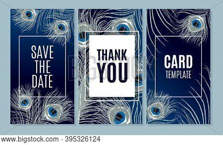 Wedding Invitation Cards Set. Save The Date, Thank You, Rsvp Elegant Luxury Design With Beautiful Pe