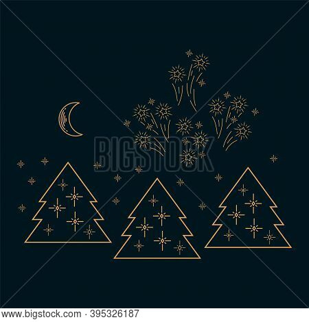 Festive Illustration Of A Christmas Tree Forest. Happy New Year And Merry Christmas In The Sparkling
