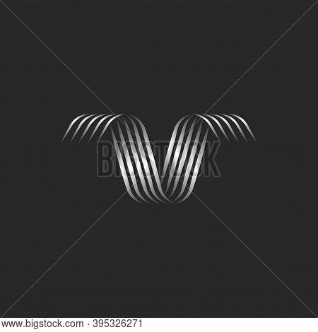 Ribbon Shape Letter V Logo Monogram With Swirls Of Thin Stripes Of Metallic Gradient, Linear Abstrac