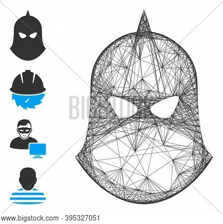 Vector Network Knight Helmet. Geometric Hatched Frame Flat Network Made From Knight Helmet Icon, Des
