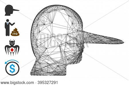 Vector Network Liar. Geometric Linear Carcass Flat Network Made From Liar Icon, Designed From Inters
