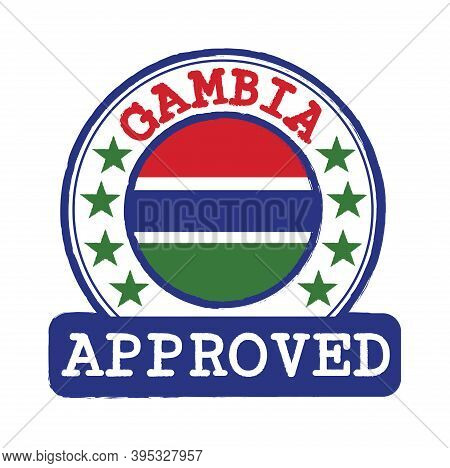 Vector Stamp Of Approved Logo With Gambia Flag In The Round Shape On The Center. Grunge Rubber Textu