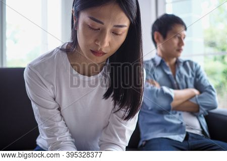 Asian Women Are Disappointed And Saddened After An Argument With Their Husband. Asian Couples Are Ha