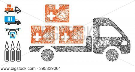 Vector Net Medication Delivery. Geometric Wire Carcass 2d Net Generated With Medication Delivery Ico
