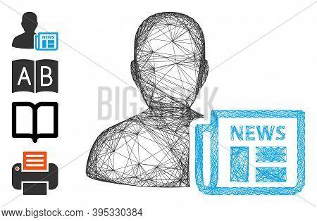 Vector Wire Frame Newsmaker Newspaper. Geometric Wire Frame 2d Net Made From Newsmaker Newspaper Ico