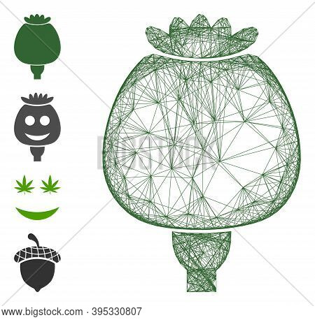 Vector Wire Frame Opium Poppy. Geometric Wire Frame 2d Network Made From Opium Poppy Icon, Designed