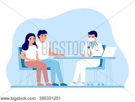 Consultation Coeple Man And Woman In Clinic Medical Office. Medical Family Advice, Doctor Supervisio