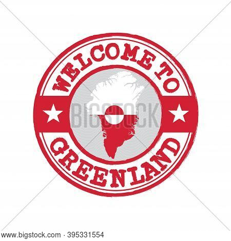 Vector Stamp Of Welcome To Greenland With Map Outline Of The Nation In Center. Grunge Rubber Texture