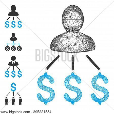 Vector Wire Frame Person Expenses. Geometric Wire Frame 2d Network Based On Person Expenses Icon, De
