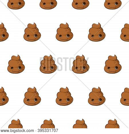 Vector Seamless Pattern With Poop Crazy Emoji. Funny Background With Poo Character.