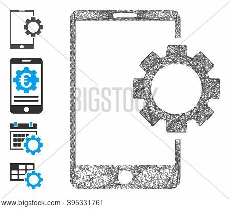 Vector Wire Frame Phone Setup Gear. Geometric Wire Frame 2d Net Generated With Phone Setup Gear Icon