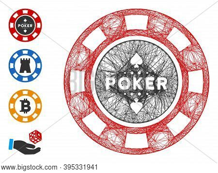Vector Network Poker Casino Chip. Geometric Linear Carcass Flat Network Generated With Poker Casino