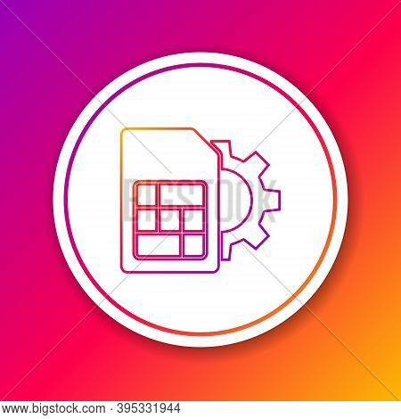 Color Line Sim Card Setting Icon Isolated On Color Background. Mobile Cellular Phone Sim Card Chip.