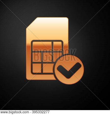 Gold Sim Card Icon Isolated On Black Background. Mobile Cellular Phone Sim Card Chip. Mobile Telecom