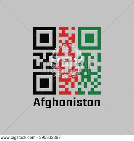 Qr Code Set The Color Of Afghanistan Flag. Black Red And Green With The National Emblem In White Cen