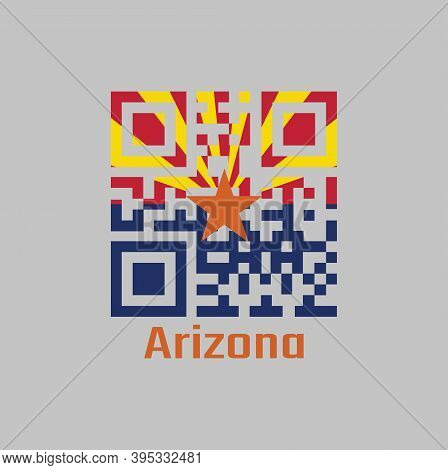 Qr Code Set The Color Of Arizona Flag. The States Of America. Red And Yellow On The Top Half, With S