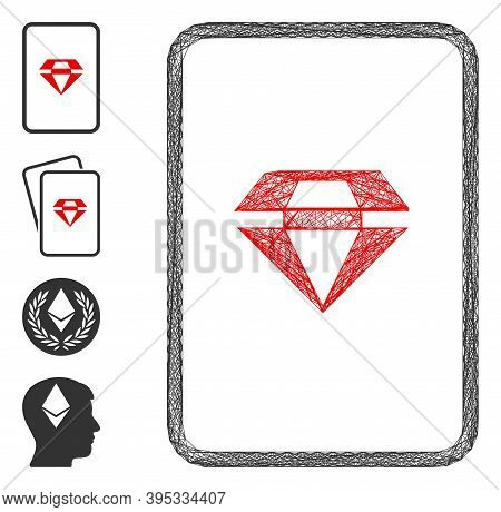 Vector Network Ruby Gambling Card. Geometric Linear Carcass 2d Network Generated With Ruby Gambling