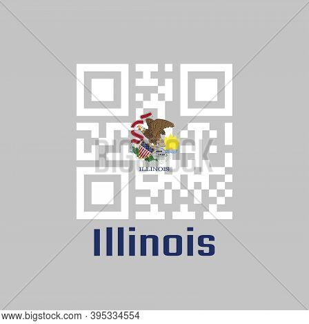 Qr Code Set The Color Of Illinois Flag. The States Of America. Seal Of Illinois On A White Backgroun