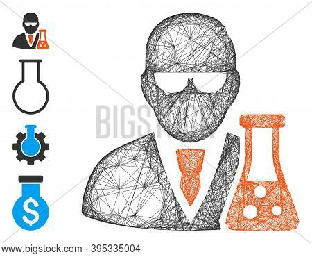 Vector Net Scientist With Flask. Geometric Linear Frame 2d Net Made From Scientist With Flask Icon,