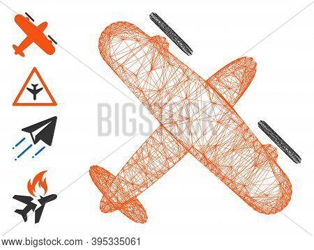 Vector Wire Frame Screw Aeroplane. Geometric Linear Frame 2d Network Made From Screw Aeroplane Icon,