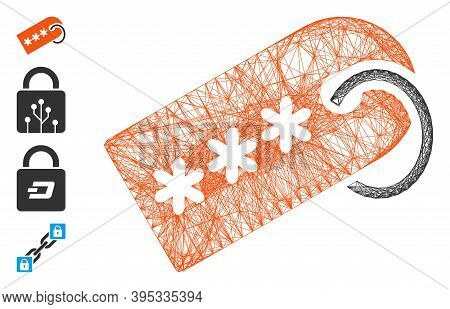 Vector Wire Frame Secret Tag. Geometric Wire Carcass 2d Net Generated With Secret Tag Icon, Designed