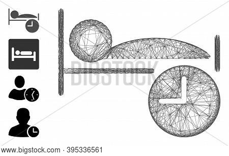 Vector Wire Frame Sleep Time. Geometric Wire Frame 2d Network Based On Sleep Time Icon, Designed Fro