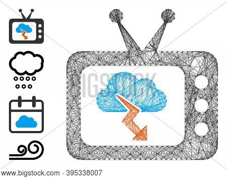 Vector Wire Frame Storm Tv Forecast. Geometric Wire Frame 2d Network Generated With Storm Tv Forecas