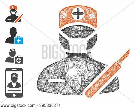 Vector Network Surgeon. Geometric Linear Carcass Flat Network Generated With Surgeon Icon, Designed
