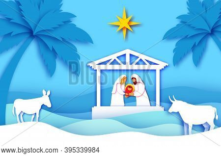 Baby Jesus Christ. Holy Child And Family. Mary And Joseph. Birth Of Christ.star Of Bethlehem - East