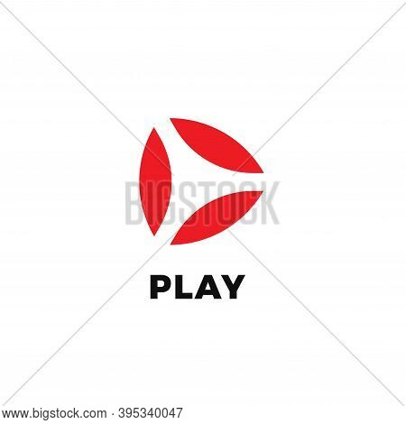 Abstract Play Isolated Icon On White Background. Vide And Audio Start Button Flat Minimal Style Vect