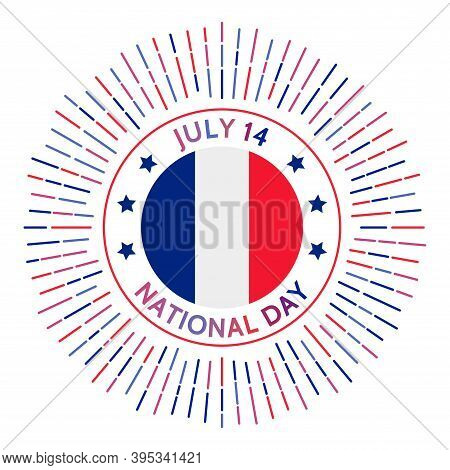 France National Day Badge. Storming And Destruction Of The Bastille By The French Troops. Celebrated