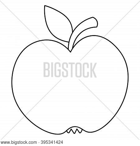 Apple. Delicious Fruit With A Leaf. Vector Illustration. Outline On An Isolated White Background. Do