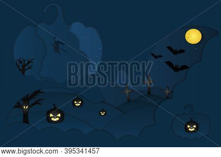 Halloween. Mystical Landscape. Window In The Form Of Bats And Pumpkins. A Witch On A Broomstick Flie