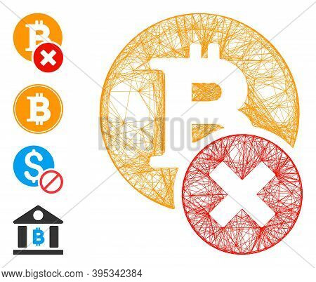 Vector Wire Frame Wrong Bitcoin. Geometric Wire Frame 2d Net Based On Wrong Bitcoin Icon, Designed F