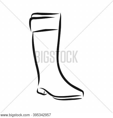 Hand Drawn Beautiful Leather Woman Boot With High Heel. Fashion Illustration Isolated On White Backg